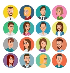 Cartoon male and female faces collection vector