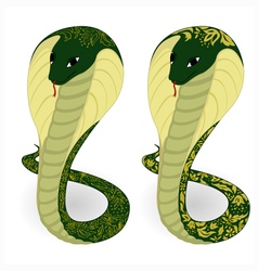 Two green cobras with floral pattern vector