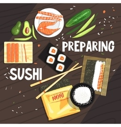Preparing sushi ingredients and technique vector