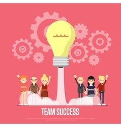 Team success banner with business peole vector
