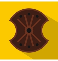 Wooden shield icon flat style vector