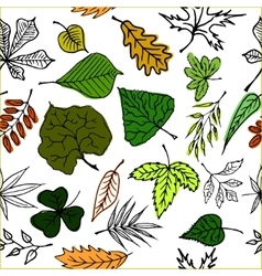 Hand drawn engraving style leaves seamless pattern vector
