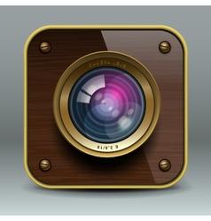 Wooden luxury photo camera icon vector image
