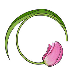 Round frame formed by pink tulip flower place for vector