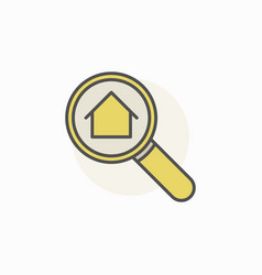 House in magnifying glass icon vector