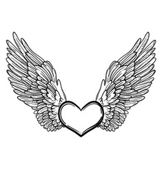 Line art of angel wings and heart vector