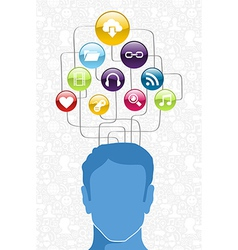 Social media man diagram vector image