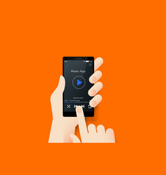 Hand holding smartphone with conceptual media vector