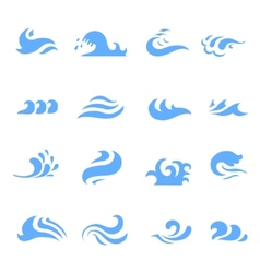 Set of wave symbol on isolated white background vector