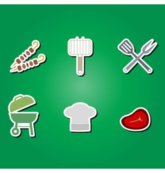 Color icons with symbols of barbecue vector