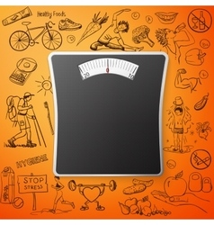 Healthy lifestyle background with bathroom weight vector