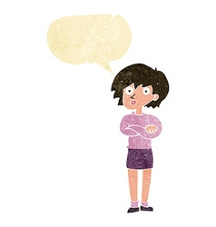 Cartoon woman wit crossed arms with speech bubble vector