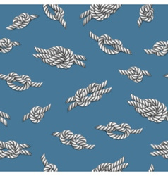 Seamless pattern with white ropes and marine knots vector