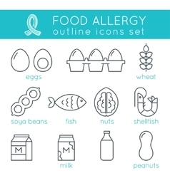 Food Allergy Triggers Flat Outline Icons Set vector image