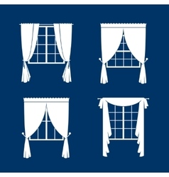 Window curtains set vector