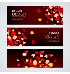 Rose petals wedding love banners vector
