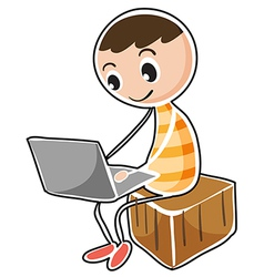 A man sitting in a cube with a laptop vector image vector image
