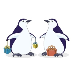 Antarctic penguins with gift boxes vector image vector image