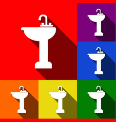 Bathroom sink sign set of icons with flat vector