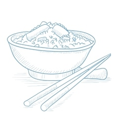 Bowl of boiled rice with chopsticks vector