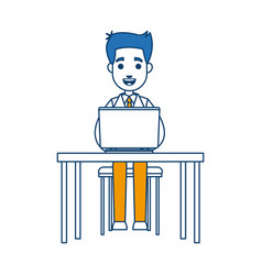 Business man sitting working laptop desk vector