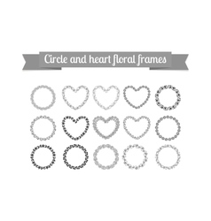 Circle and heart floral frames set vector image vector image