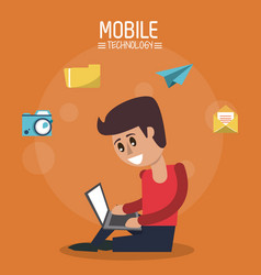 Color poster of mobile technology with man sitting vector
