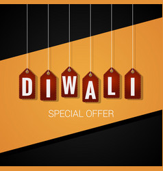 diwali sale tag design background vector image