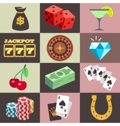 Flat gambling casino money win jackpot luck vector