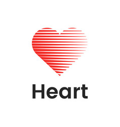 heart flat logo design template with lines vector image vector image