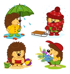 hedgehog and the four seasons vector image vector image