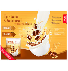 Instant oatmeal with chocolate advert concept vector