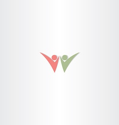 letter w people logotype sign vector image