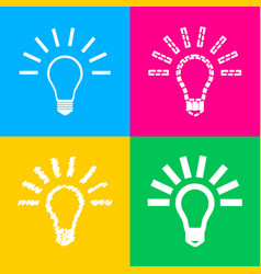 Light lamp sign four styles of icon on four color vector