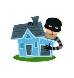 male thief in mask robbed house property vector image vector image