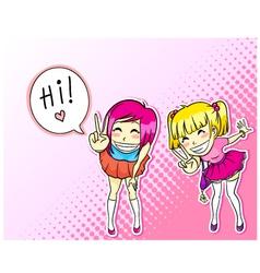 manga girls vector image
