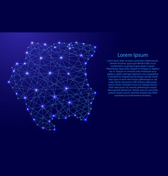 map of suriname from polygonal blue lines vector image vector image