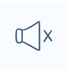 Mute speaker sketch icon vector image