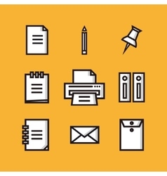 Office and finance flat icons vector image