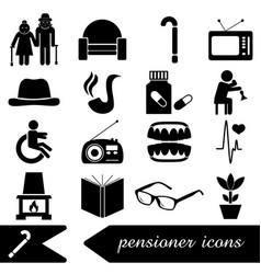 Pensioner senior citizen theme set of icons eps10 vector
