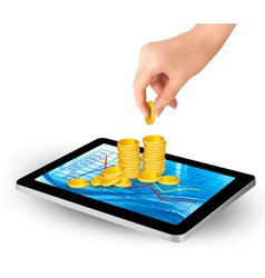 Pile of coins on a tablet internet job concept vector
