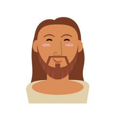 Portrait jesus christ happy face vector