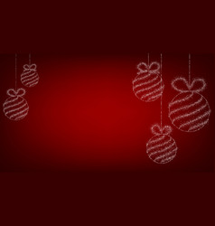 Red background with christmas balls vector