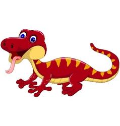 Red gecko cartoon posing vector