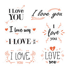 romantic valentines day quote phrase i love you vector image vector image