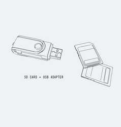 sd memory card usb adapter vector image vector image