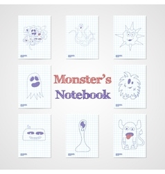 Set of eight notebook sheets with funny monsters vector