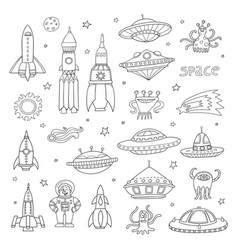 set with cartoon space objects ufo rockets vector image