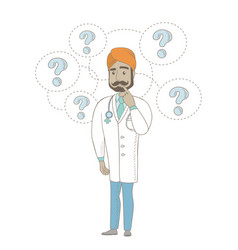 Thinking indian doctor with question marks vector