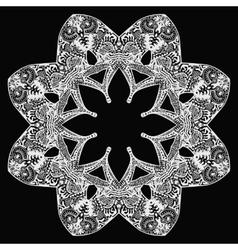 White flower round pattern on black vector
